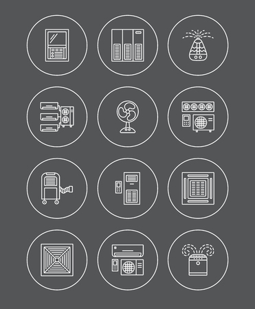 Ventilators & Air conditioners. Climate equipment for summer. Split system, fan, purifier, humidifier. Line icon collection of heat regulation appliances isolated on dark background. Vector illustration. Illustration