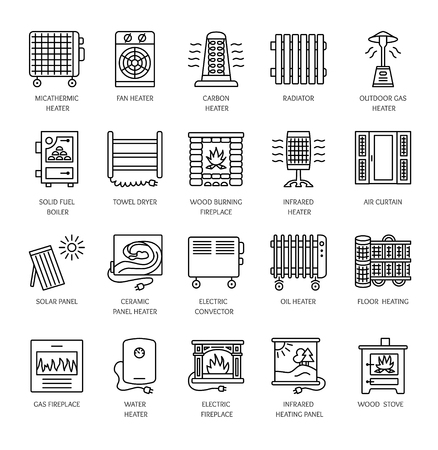 Vector line icons with radiator, convector and fireplace. Heating equipment for home and office. Different styles of gas, oil & electric heaters. Solar panel. Wood stove. Elements for space warming. Illustration