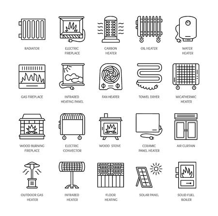 lijn iconen met radiator, convector en open haard. Verwarmingsapparatuur voor thuis en op kantoor. Verschillende stijlen van gas, olie Stock Illustratie