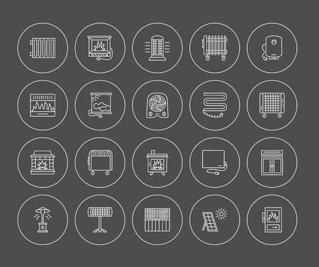 Vector lijn iconen met radiator, convector en open haard. Verwarmingsapparatuur voor thuis en op kantoor. Verschillende stijlen van gas, olie en elektrische verwarmers. Zonnepaneel. Houtkachel. Elementen voor ruimteverwarming. Stock Illustratie