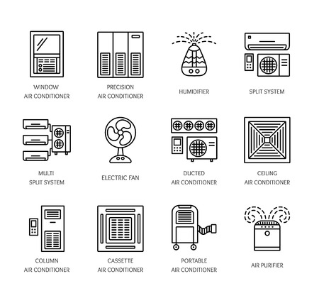 Ventilators & Air conditioners. Climate equipment for summer. Split system, fan, purifier, humidifier. Line icon collection of heat regulation appliances isolated on white background. Vector illustration.