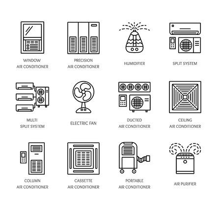 Ventilateurs et climatiseurs. Équipement climatique pour l'été. Système de split, ventilateur, purificateur, humidificateur. Collection d'icônes de ligne des appareils de régulation de la chaleur isolé sur fond blanc. Illustration vectorielle