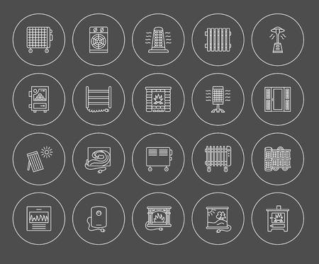 Vector lijn iconen met radiator, convector en open haard. Verwarmingsapparatuur voor thuis en op kantoor. Verschillende stijlen van gas, olie en elektrische verwarmers. Zonnepaneel. Houtkachel. Elementen voor ruimteverwarming. Stockfoto - 80085199