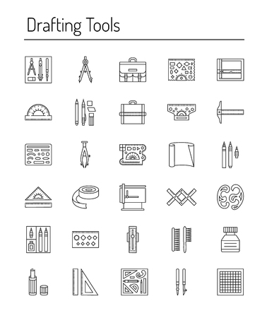 Drafting tools icon collection. Engineering drawing. Line icons set. Drafting kit, ruler, drawing board, protractor, tape, mechanical pencil, ink, divider, compass. Draftsman toolkit. Vector illustration.