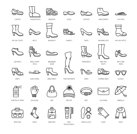 Womens shoes & accessories. Vector line icon set. Various styles of footwear. Heels, boots, sneakers, sandals, flats. Bag, glove, sunglasses, umbrella, hat, scarf, sock