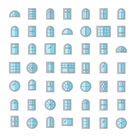 Windows. Architecture elements. Flat colored icons. Traditional, french, arch and round window frames