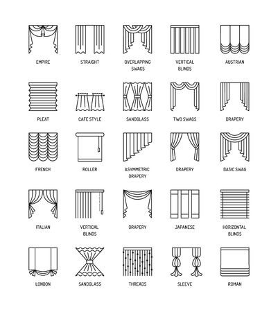 A Vector line icons with drapes. Window covering. Different styles of draperies, curtains and blinds. Roman, french, roller, pleat, japanese, threads. Elements for interior decoration. Illustration