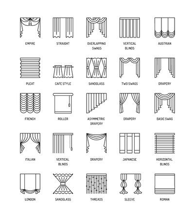 Een vectorlijnpictogrammen met gordijn. Raambekleding. Verschillende stijlen van gordijnen, gordijnen en zonwering. Romeins, Frans, roller, plooi, Japans, draden. Elementen voor interieurdecoratie.