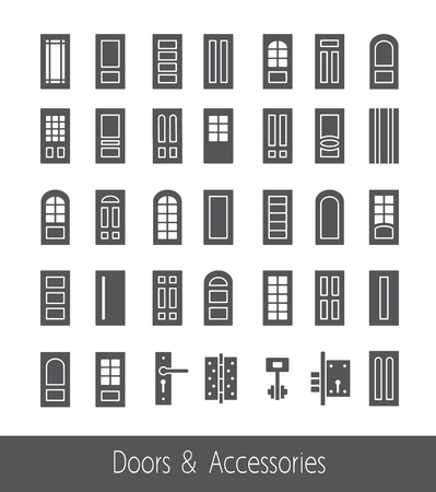 French, arch, glass doors and hardware. Line icon collection. Architecture elements.