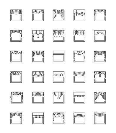 Vector line icons with valances and pelmets. Window top treatments. Different styles of draperies and blinds. Swag, fan, straight, scalloped, pleat. Elements for interior decoration.