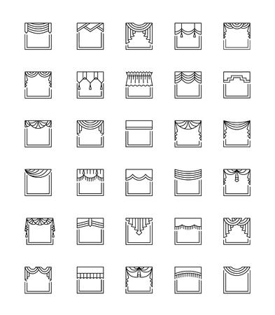 cenefas: Vector línea de iconos con valances y pelmets. Tratamientos para ventanas. Diferentes estilos de cortinas y persianas. Swag, ventilador, recto, festoneado, pliegue. Elementos para decoración de interiores. Vectores
