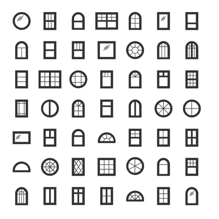 Windows. Architecture elements. Line icons isolated on white background. Traditional, french, arch and round window frames