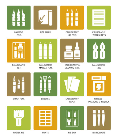 Calligraphy tools and materials. Vector icon collection. Brush and nib pens for handwriting. Items for drawing decorative antique letters. Stationery elements.