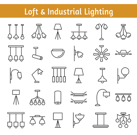 Industrial and loft lighting set with various lamps and chandeliers Illustration