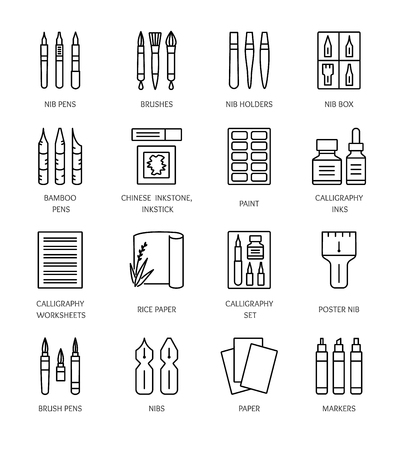 Calligraphy tools and materials. Vector line icons. Brush and nib pens for handwriting and lettering. Items for drawing decorative antique letters. Stationery elements.  Illustration