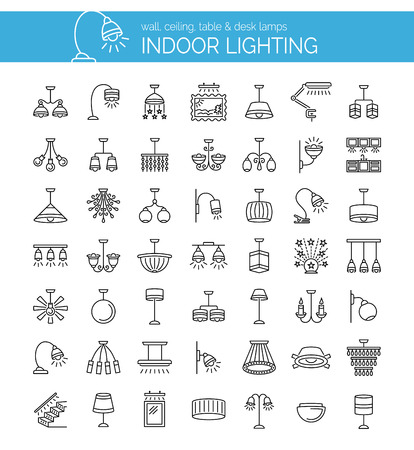 Indoor lighting. Set of modern and traditional lamps, pendants, chandeliers.