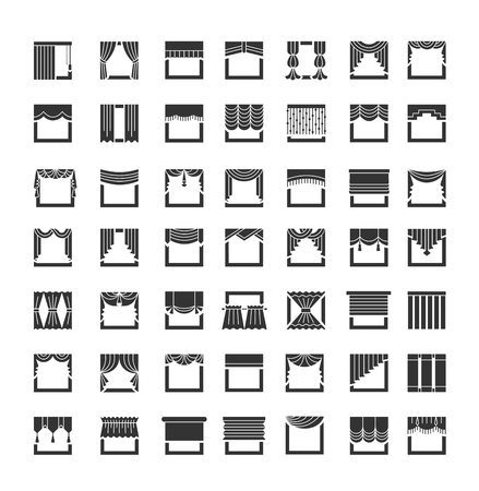 Window draperies,  curtains and blinds. Interior design elements. Flat icon set. Vector illustration Vettoriali