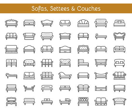 Sofas, settees and couches illustration set Illustration