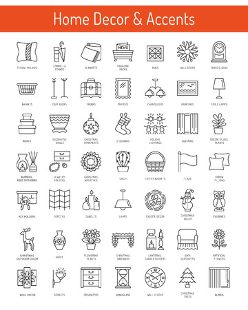 Home decor and accents items. Wall artwork, clocks, window treatments, plants, lamps, holders. Vector line icon collection.