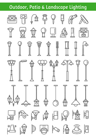 Outdoor, patio and landscape lighting set like lamps and light posts