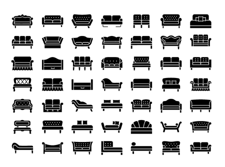 Sofas and couches illustration set