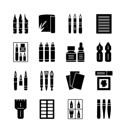 Calligraphy tools and materials. Vector icon collection. Brush and nib pens for handwriting and lettering. Items for drawing decorative antique letters. Stationery elements.