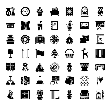 Interior design. Home decor items. Wall artwork, clocks, window treatments, plants, lamps, holders. Icon collection.