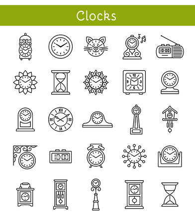Set of different isolated wall, table and floor clocks. Home decor elements. Devices for measuring time. Vector line icon collection.