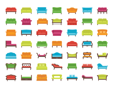 Sofa illustration in various colors