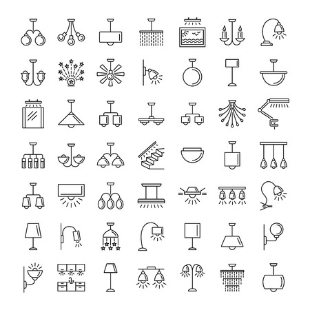 Indoor lighting. Home illumination and decoration elements. Different kinds of wall, ceiling, table and desk lamps. Vector line icon collection.
