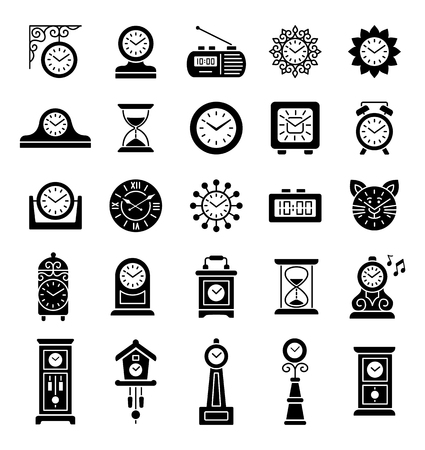 Set of different isolated wall, table and floor clocks. Home decor elements. Devices for measuring time. Vector icon collection.