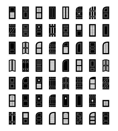 Volets. Plantation, panneau, palier sur palier, bahama et couvre-fenêtres à persiennes. Stores extérieurs décoratifs. Tableaux et lattes. Vue de face. Collection d'icônes plates.
