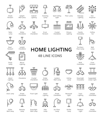 Different kinds of wall, ceiling, table and floor lamps. Home lighting. Modern light fixtures. Chandeliers, torcheres & pendants. Line icon set. Front view. Isolated objects on white background. Иллюстрация