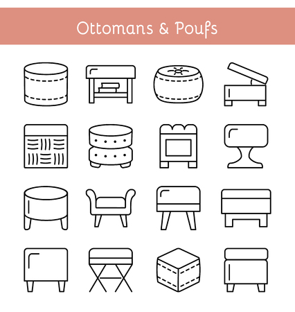 Ottomans & Poufs. Accent stools. Different kinds of classic & modern upholstered seats. Living room, bedroom & patio furniture. Front view. Vector icon collection.