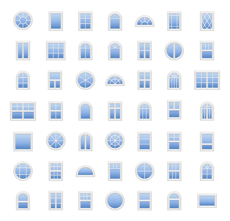 Windows. Architecture elements. Flat icons isolated on white background. Traditional, french, arch and round window frames
