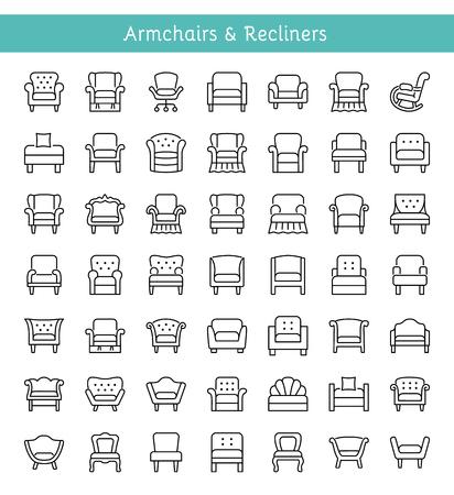 Sessel, Lounges & Relaxsessel. Wohnzimmer & Terrasse gepolsterte Möbel. Verschiedene Arten von klassischen und modernen bequemen Stühlen. Vorderansicht. Innenelemente. Liniensymbole. Vektor-Illustration