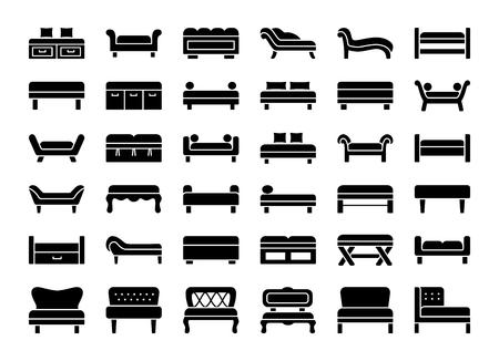 Gestoffeerde banken en banken. Woonkamer, slaapkamer, entree en tuinmeubilair. Verschillende soorten klassieke en moderne banken. Lounges en ligbedden. Vooraanzicht. Vector icoon collectie.