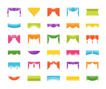 Scarves & valances. Window top treatments. Different styles of draperies and blinds. Swag, fan, straight, scalloped, pleat pelmets. Vector flat icons. Isolated objects on white background. Vectores