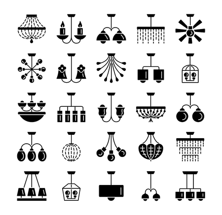 Modern & vintage ceiling lamps. Set of hanging light fixtures. Different types of chandeliers. Home & office lighting. Flat icon collection. Isolated objects on white background.