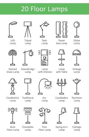 Modern & vintage floor lamps. Set of standing light fixtures. Home & office lighting. Torchieres. Vector icon collection. Isolated objects on white background.