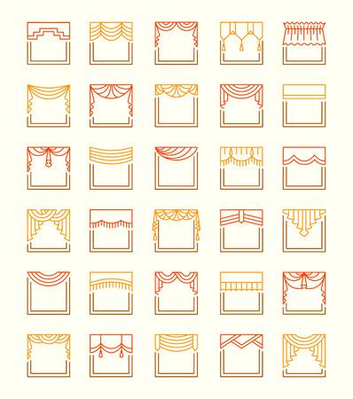 Iconos de línea vectorial con cenefas y cenefas. Tratamientos de ventana. Diferentes estilos de cortinas y estores. Swag, abanico, recto, festoneado, plisado. Elementos para la decoración de interiores.