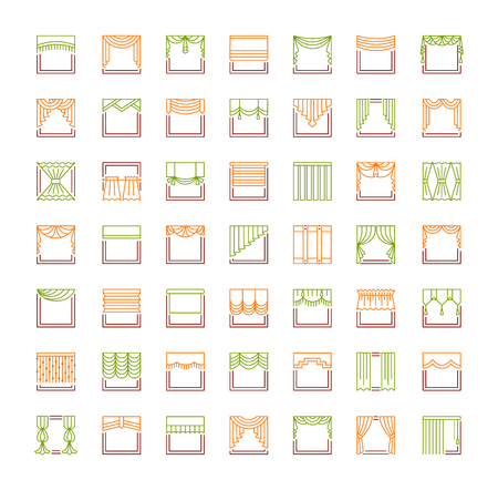 Curtains & blinds. Window drapes. Different styles of draperies. Roman, roller, pleat, panel, beaded shades. Line icon collection. Isolated objects on white backround. 向量圖像