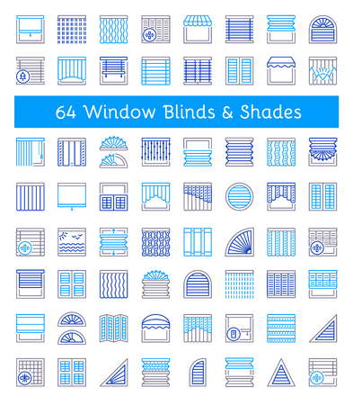 Blinds & Shades. Sun protection. Room darkening & light blocking  jalousies. Interior shutters & panel curtains. Home decor elements. Window coverings. Line icon collection.