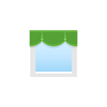 Green fabric pelmet. Vector illustration. Flat icon of scalloped valance. Element of home & office top window decoration. Front view.