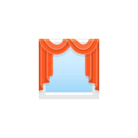 Red fabric scarf curtain with drapery. Vector illustration. Flat icon of shade with swag and cascade. Element of home & office window decoration. Front view. 向量圖像