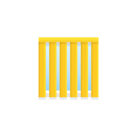 Vertical yellow blind. Flat icon of window shade & jalousie. Front view. Isolated object on white backround. Vector illustration Ilustracja
