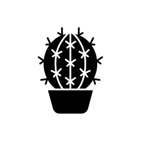 Vector illustration of barrel cactus in the pot. Desert plant for terrarium and rock garden. Flat icon of succulent. Isolated object on white background.