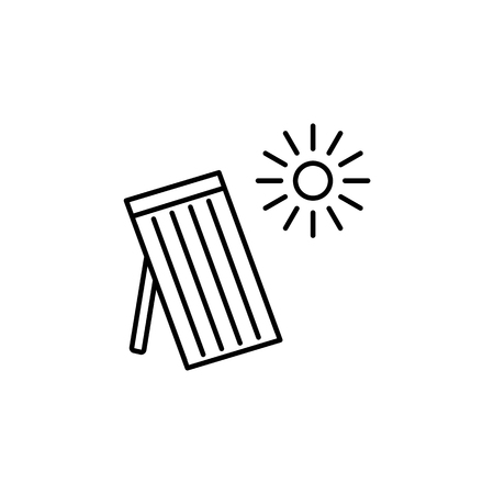 Vector illustration of solar thermal panel. House heating system. Line icon isolated on white background.