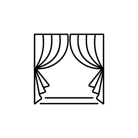 Fabric curtain with drapery. Vector illustration. Line icon of shade. Element of home & office window decoration. Front view. Isolated object on white background.