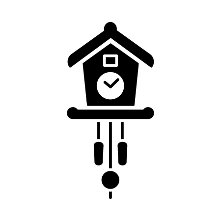 Vector illustration of vintage wall cuckoo clock with pendulum. Flat icon of old decorative wooden clock in the form of chalet with pine cones. Isolated object on white background.